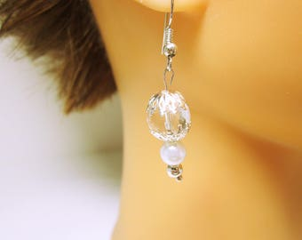 Crystal White Pearl Earring Quartz Crystal Bead Silver End Caps Quartz Wedding Or Anniversary Gift Idea For Her JEWELRY