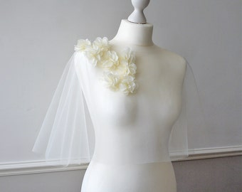 Ivory chiffon flower tulle bridal capelet EMSWORTH