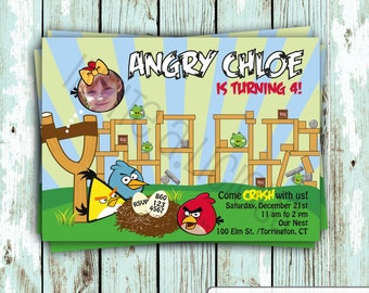 Customize this Angry Birds Birthday Party Invitation, DIGITAL INVITE