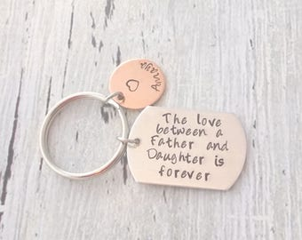 Personalized Dad Gift, Personalized Daughter Gift, Dad Gift, Daughter Gift, Dad And Daughter Gift, Dad Keychain, Daughter Keychain, Keychain