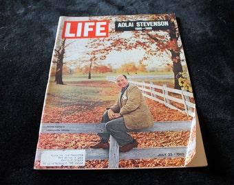 Life Magazine July 23, 1965 Adlai Stevenson 1900-1965