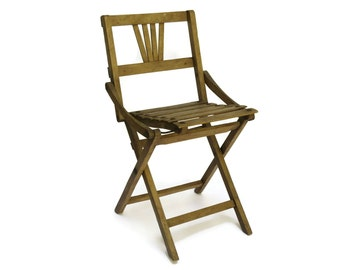 Rustic French Wooden Folding Fishing Stool. Small Camping Chair. Gardening Gift