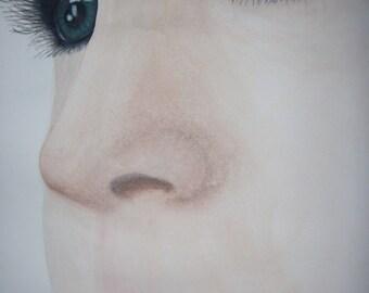 Dessin portrait a partir de photo à l'aquarelle