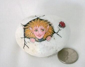 Painted rock, painted stone, fairy stone, ladybug, ladybird, redhead fairy, garden decor, fairy egg rock, fairy inside rock, cracking rock