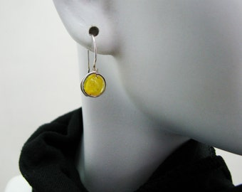 Yellow Glow in the Dark Earrings Sterling Silver Glass Bead Wire Wrapped  Comfortable Earrings