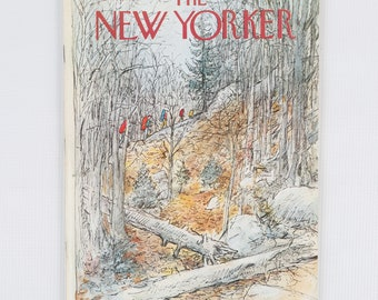 The New Yorker Magazine, Entire Publication Nov 10, 1975. Grey Black, Amber Red, Woodland Scene, Hikers Ascending Ridge. Fair Condition.