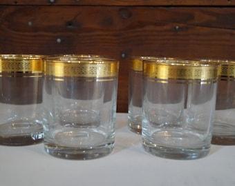 vintage highball glasses, vintage gold glasses, mid century glasses , vintage barware, vintage glassware, set of 6 glasses