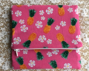 Pineapple clutch bag, foldover clutch, zip bag