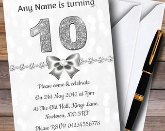 White Bokeh & Silver Glitter Look 10Th Personalised Birthday Party Invitations
