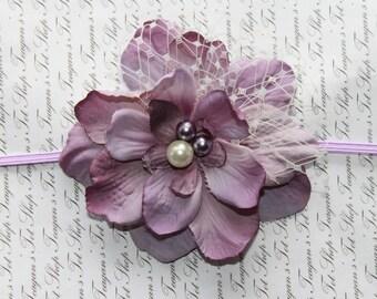 Lavender and Ivory Silk Baby Flower Headband, Newborn Headband, Baby Girl Flower Headband, Photography Prop