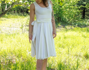 Gardenia Dress - Organic Wedding Gown - Hemp Silk and Organic Cotton - Made to Order - Rustic Wedding - Boho Chic - Sleeveless Knee Length