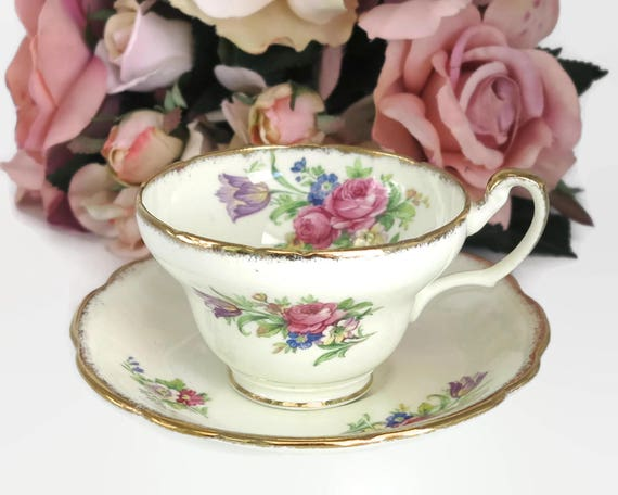 Vintage Foley cup and saucer, E Brain & Co, England, tulip pattern, cream background with tulips and roses, lots of gilt, 1936 - 1948