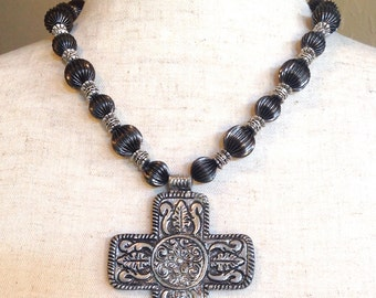 Antique Silver Square Cross Necklace - The Centurian