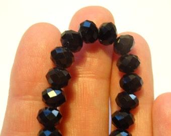 72 Black Crystal Beads 8 x 6mm - CRY07