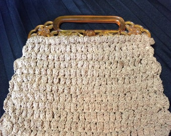 Captivating Cord Purse with Lucite Carved Handle