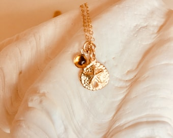 14kt Gold Filled Sand dollar and Natural Citrine Gemstone Necklace