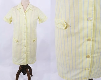 "ANNIVERSARY SALE // 1960s stripe dress   yellow blue stripe shift dress   vintage 60s dress   W 40"""