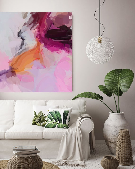 "Life Of My Dreams 2, Art Abstract Print on Canvas up to 50"", Pink Orange Purple Abstract Canvas Art Print by Irena Orlov"