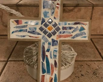Wooden Cross with Mosaic and China Pieces