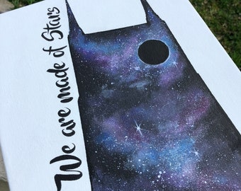Nashville Batman Building - Galaxy painting. Giclee PRINT 8x10 of original acrylic painting.