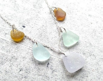 Sea Glass Necklace// Pastels// Genuine Sea Glass// Beach Glass// Sterling Silver// Sea Glass Jewelry// Mothers Day Necklace