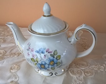 Mother's Day, Gift for momVintage English Teapot Gibsons Staffordshire England Blue Floral