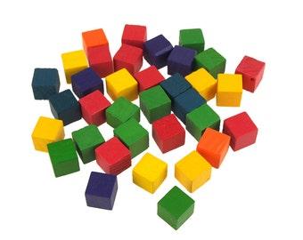 Multi-Colored Wooden Cube Blocks, 1/2-inch, 35-Piece