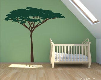 Nursery Jungle Safari Acacia Tree wall decal - wall mural theme Custom Home Decor