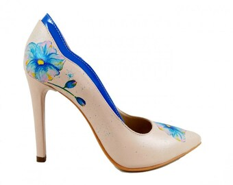 Hand Painted Shoes - Summer Dream / high heels / Storytelling / custom wedding shoes / leather shoes / painted message / painted pumps