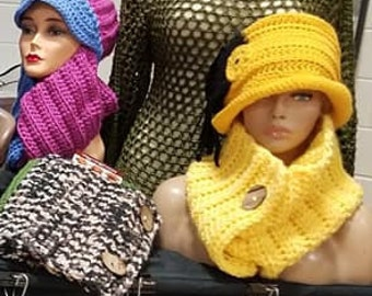 Cowl Scarf Crocheted - Neckwarmer - Scarf- Cowl- matching hat- Yellow Hat Set. - Hat w/Feathers