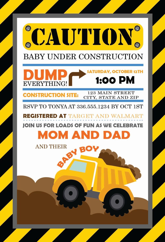 Caution Baby Under Construction Baby Shower Invitation