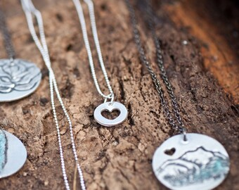 Heart Necklace - love you with my whole heart - Silver Heart Pendant - Sterling Silver Heart Necklace - Small Heart Necklace - Tiny Heart