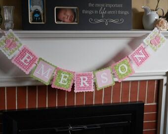 Name Banner, Butterfly Name Banner, Butterfly Party Supplies, Butterfly Nursery, Birthday, Decorations, Pink Sage