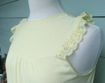 Vintage full length sleeveless YELLOW night gown women's