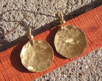 Metal earrings, brass earrings, round earrings, pounded metal earrings, made in Montana, boho earrings
