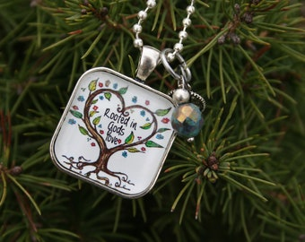 Rooted in God's Love square Pendant Necklace