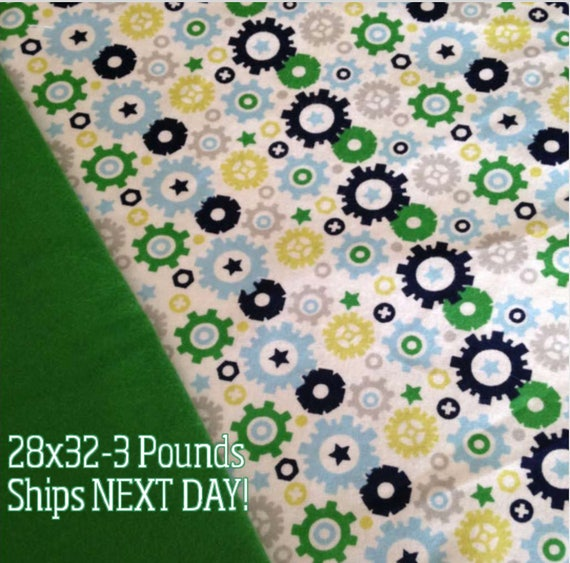 Gears, 3 pound, WEIGHTED BLANKET, Ready To Ship, 3 pounds, 28x32, for Autism, Sensory, ADHD, Calming, Anxiety,