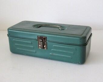 Small Vintage Green Metal Tool Box