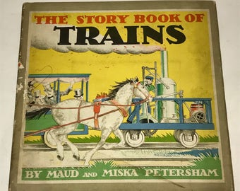 Vintage 1930s book The Story Book of Trains Childrens Book Dust Jacket Color Illustrations