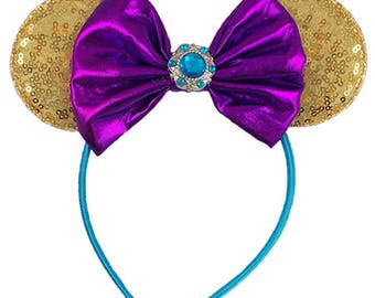 Princess Jasmine Inspired - Gold, Turquoise, Purple - Mouse Ear Headband - Z-MHK-212