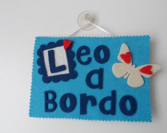 """Baby/A on board"" Plate made of felt also with personalized name"