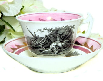 Antique Early 19th Century Staffordshire Pink Luster Cup and Saucer Hunting Theme