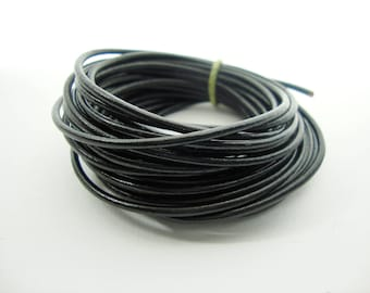 Round Leather Cord, Black Leather Cord, 1.5mm Round Cord, Genuine Leather Cord, Bracelet Necklace Leather