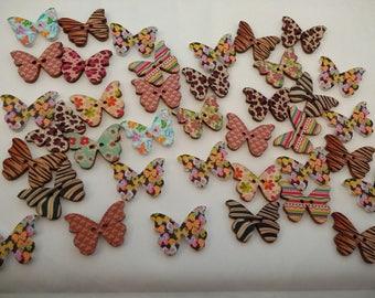 38 Wooden Butterfly Buttons. UK.