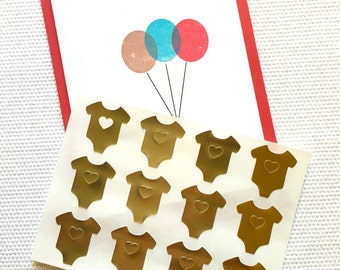 Gold Foil Baby Onesie Stickers / Labels