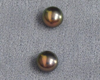 Matched Pair ~ Cultured Freshwater Pearl ~ 2 Loose Half-Drilled 7-7.5mm Round Natural Peacock Pearls