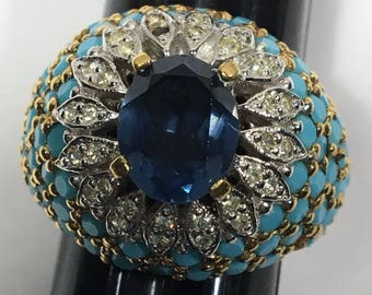 Sale Vintage Panetta Cocktail Ring Blue Rhinestone Turquoise Cabochons