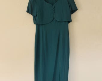Donna Ricco Dress Two Piece 90s Long Emerald and Shrug Top