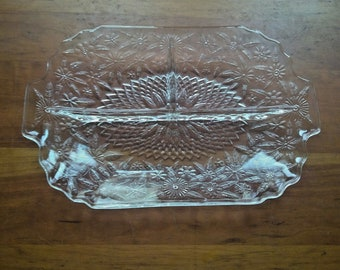 Vintage Clear Pressed Glass 3 Section Rectangle Serving Dish Flowers Leaves