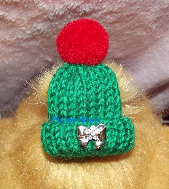Puppy Bows ~ rhinestone small Christmas cap hat pet hair bow barrette or latex bands GREEN dog beanie (fb7)